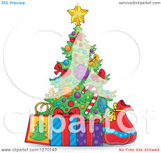 clipart of a cartoon colorful christmas tree with gifts royalty