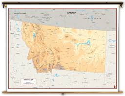 Map Montana Montana State Physical Classroom Map From Academia Maps