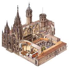 explore the annotated illustration of barcelona cathedral and