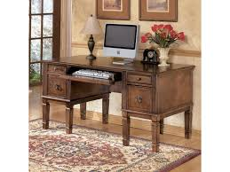 Double Pedestal Desk With Hutch by Signature Design By Ashley Hamlyn Storage Leg Desk With File
