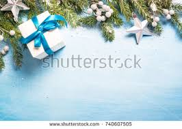 background blue silver decorations on stock photo