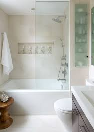 Simple Small Bathroom Ideas by Horizontal Wall Niche Also Glass Shelves Design Feat Modern Small