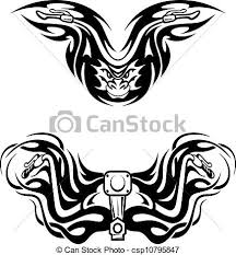 motorcycles mascots with tribal flames for tattoo design eps