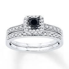 kays black engagement rings black white diamonds 1 2 ct tw bridal set 10k white gold