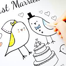 wedding coloring page just married love birds theme pdf