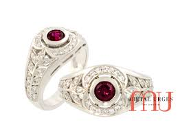 art deco ruby and white diamond ring in 18ct white gold custom
