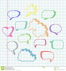 speech bubble hand drawn set of hand drawn speech bubbles vector in color stock vector