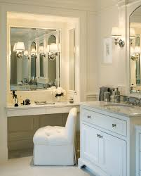glamorous single bathroom vanity with makeup area decorating ideas