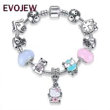 silver plated charm bracelet images Silver lovely kitty cat pendant alarm clock owl bear beads charm jpeg