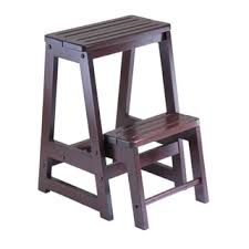 costway wood step stool folding 3 tier ladder chair bench seat