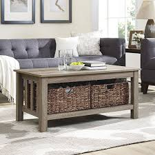 40 inch driftwood coffee table with storage totes free shipping