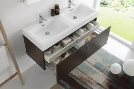 fresca mezzo 48 inch gray oak wall mounted double sink bathroom vanity
