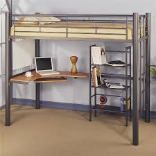 Space Loft Bed With Desk Metal Loft Bed Great Solutions For Small Space Modern Wall