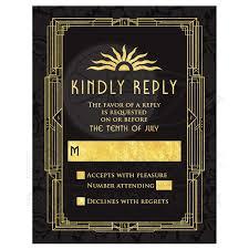 great gatsby wedding invitations deco wedding rsvp card black gold roaring 20s gatsby style