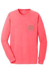 Long Sleeve Comfort Colors Monogram Long Sleeve Neon Coral Pocket Tee In Comfort Colors