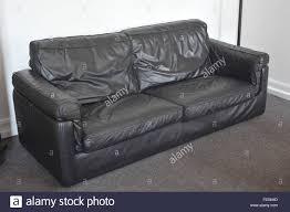 Leather Sofa Used Used Black Leather Sofa Furniture Lounge Stock Photo 94770493