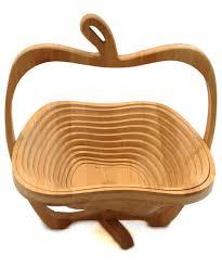 chagne baskets wooden apple shape multi purpose foldable basket woodde