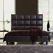 Headboard For Queen by Queen Size Modern Bed With Faux Leather Headboard Home Dec