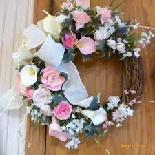 spring wreath elegant pink rose and calla lily wreath summer