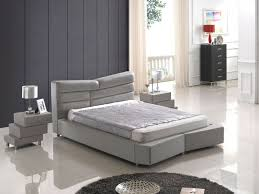 grey platform bed with leather headboard and extra padded frame
