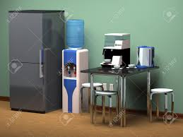 refrigerator kitchen table drinking water cooler at the office