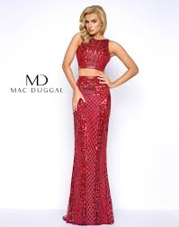 two piece beaded prom dress with small train mac duggal 4486m
