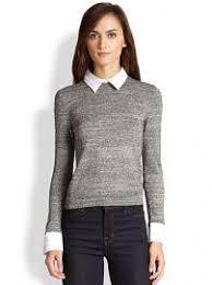 black sweater with white collar wornontv spencer s grey sweater with white collar and black