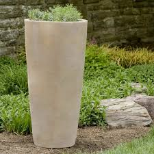 decor stone walls and garden ideas with tall outdoor planters