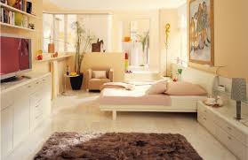 interior awesome bedroom using beige modern bed along with beige