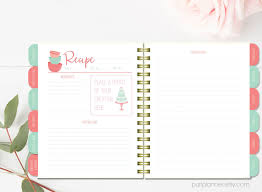 printable recipe binder kit blank cookbook coral and mint recipe