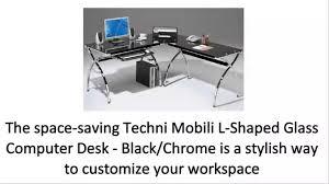 Techni Mobili L Shaped Glass Computer Desk With Chrome Frame Techni Mobili L Shaped Glass Computer Desk Black Chrome