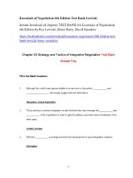 essentials of negotiation 6th edition test bank lewicki pdf