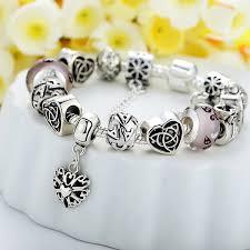 bracelet beads silver images Antique silver heart letter crystal glass beads bracelet at jpg