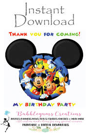 mickey mouse thank you cards digital file mickey mouse thank you card mickey mouse club