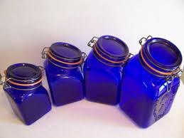 cobalt blue kitchen canisters vintage cobalt blue glass kitchen canister set s products