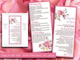tea length wedding program template diy wedding program template pink vintage garden ceremony