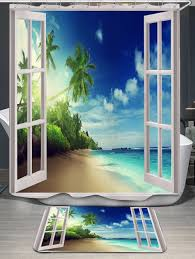 coconut palm window scenery shower curtain and rug blue in shower