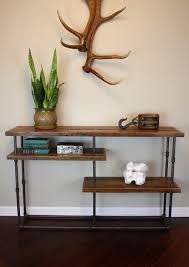 Steel Pipe Shelving by Industrial Console Reclaimed Wood U0026 Steel Pipe Rustic