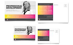 education business school postcard template design