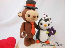 custom wedding cake topper monkey and penguin love with wedding