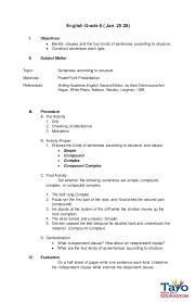 identify sentence pattern english grammar semi detailed lesson plan sentence structures