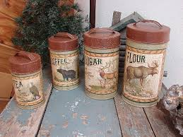rustic kitchen canisters wildlife motif decorated kitchen photos antiqued tin lodge theme