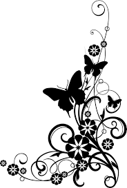 butterflies with vine black and white clipart jpg 1 079 1 600
