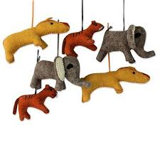 unicef market ornaments of stuffed wool animals set of