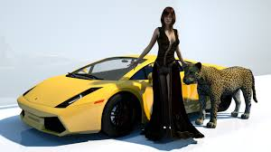 yellow lamborghini woman character wearing black sleeveless maxi dress and yellow