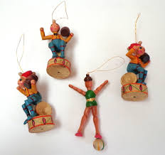 german painted wood ornaments circus theme v