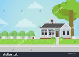 flat style countryside family house backyard stock vector