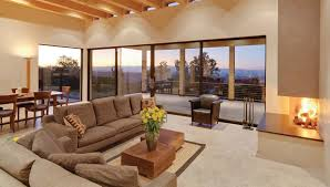 warm fireplace glass walls with cream floor can add the beauty