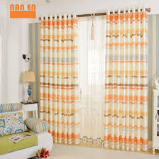 Orange Striped Curtains Bright Orange And Beige Polyester Decorative Horizontal Striped