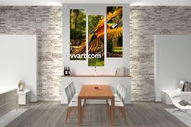 3 piece canvas colorful parrot artwork